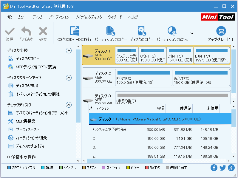 MiniTool Partition Wizardメイン画面